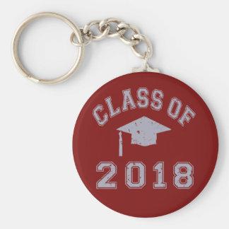 Clase 2018 de la graduación - gris llavero redondo tipo chapa