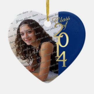 Clase azul de la graduación de 2014 adorno navideño de cerámica en forma de corazón