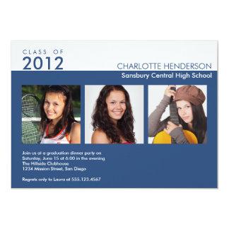 Clase azul de la graduación de la foto del invitación 12,7 x 17,8 cm