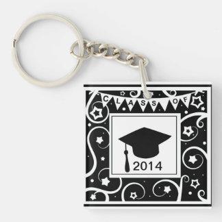 Clase blanco y negro de graduación de encargo del  llavero