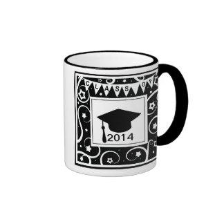 Clase blanco y negro de graduación de encargo del  tazas