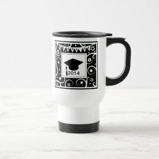 Clase blanco y negro de graduación de encargo del  taza