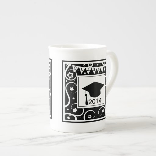 Clase blanco y negro de graduación de encargo del  tazas de porcelana