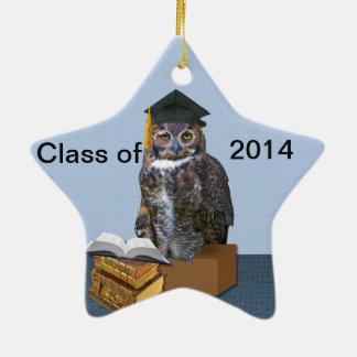 Clase chistosa del búho 2014 de la graduación adorno de cerámica en forma de estrella