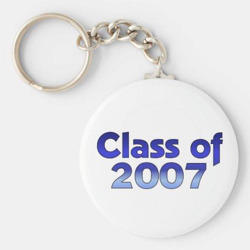 Clase de 2007 azules y blancos llavero personalizado
