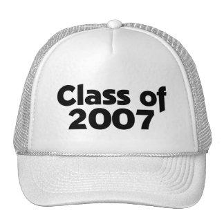 Clase de 2007 negros y de blanco gorras