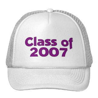 Clase de 2007 púrpuras y blancos gorro
