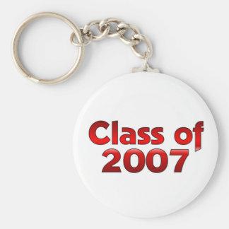 Clase de 2007 rojos y blancos llavero redondo tipo chapa