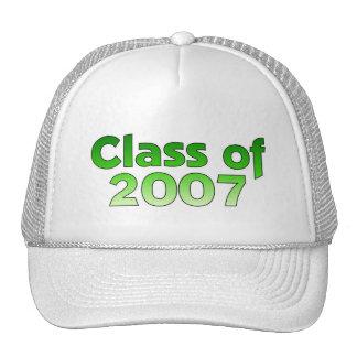 Clase de 2007 verdes y de blanco gorra