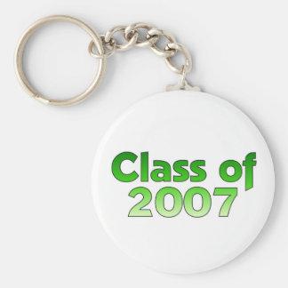 Clase de 2007 verdes y de blanco llavero