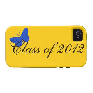 Clase de 2012 - mariposa del azul y del oro iPhone 4/4S carcasas