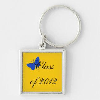 Clase de 2012 - mariposa del azul y del oro llavero cuadrado plateado