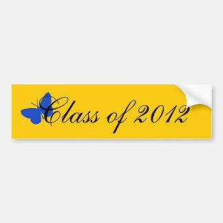 Clase de 2012 - mariposa del azul y del oro etiqueta de parachoque