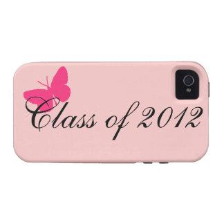 Clase de 2012 - mariposa rosada iPhone 4/4S carcasas