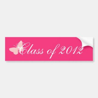 Clase de 2012 - mariposa rosada etiqueta de parachoque