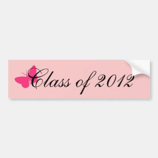 Clase de 2012 - mariposa rosada pegatina para coche