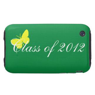 Clase de 2012 - mariposa verde y amarilla tough iPhone 3 carcasas