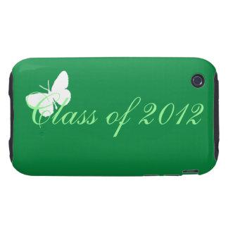 Clase de 2012 - mariposa verde y blanca iPhone 3 tough cárcasa