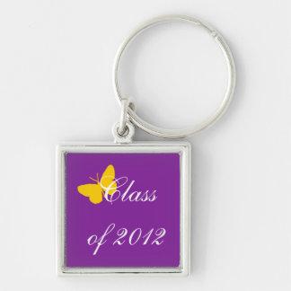 Clase de 2012 - púrpura y oro llavero cuadrado plateado