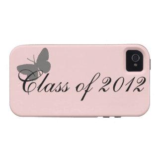 Clase de 2012 - rosa y gris Case-Mate iPhone 4 funda
