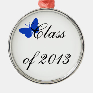 Clase de 2013 - mariposa azul adorno redondo plateado