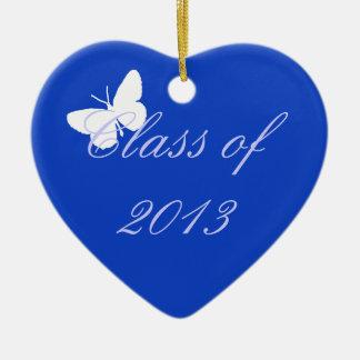 Clase de 2013 - mariposa azul adorno navideño de cerámica en forma de corazón