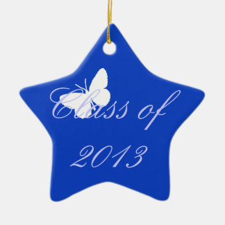 Clase de 2013 - mariposa azul adorno navideño de cerámica en forma de estrella