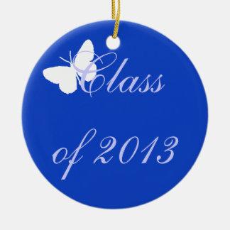 Clase de 2013 - mariposa azul adorno navideño redondo de cerámica