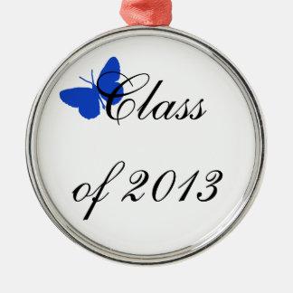 Clase de 2013 - mariposa azul adorno navideño redondo de metal