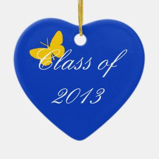 Clase de 2013 - mariposa del azul y del oro adorno de cerámica en forma de corazón