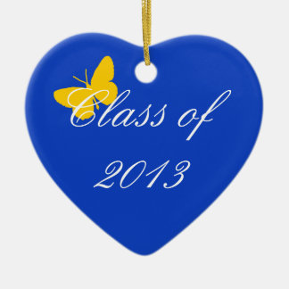 Clase de 2013 - mariposa del azul y del oro adorno navideño de cerámica en forma de corazón