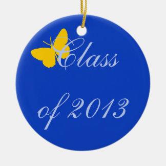 Clase de 2013 - mariposa del azul y del oro adorno navideño redondo de cerámica