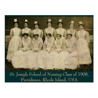 Clase de escuela de enfermería de San José de 1908 Postal