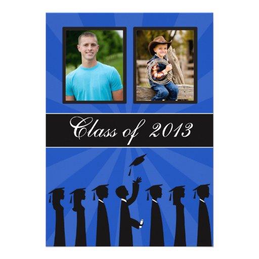 Clase de graduación de la silueta de 2013 azules invitaciones personalizada