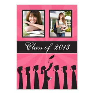 Clase de graduación rosada de la silueta 2013 invitacion personalizada