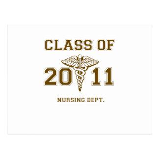 Clase de la escuela de enfermería 2011 (mono) postal