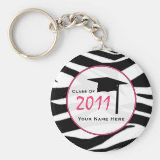 Clase de la graduación de 2011 - estampado de zebr llavero redondo tipo chapa