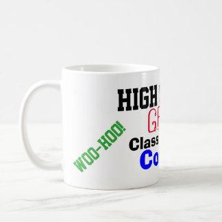 Clase de la graduación de estudios secundarios de taza de café
