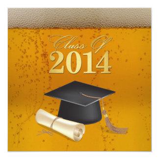 Clase de la graduación temática 2014 de la cerveza invitación 13,3 cm x 13,3cm