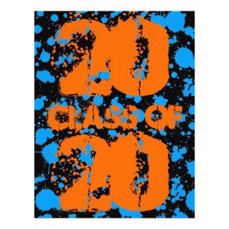 Clase de pintura azul de la salpicadura del negro folleto 21,6 x 28 cm