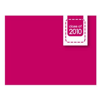 clase de postal rosada de la graduación 2010