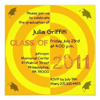 Clase del círculo 2011 del naranja de la invitación 13,3 cm x 13,3cm