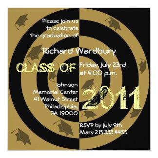 Clase del círculo 2011 del oro de la invitación invitación 13,3 cm x 13,3cm