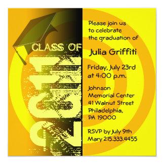 Clase del círculo amarillo 2011 de la invitación invitación 13,3 cm x 13,3cm