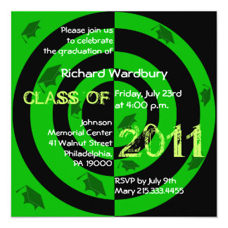 Clase del círculo verde 2011 de la invitación invitación 13,3 cm x 13,3cm
