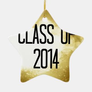 clase del fondo 2014 del oro adorno navideño de cerámica en forma de estrella