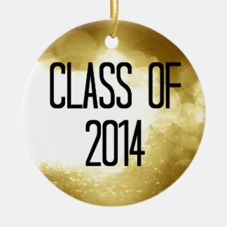clase del fondo 2014 del oro adorno navideño redondo de cerámica
