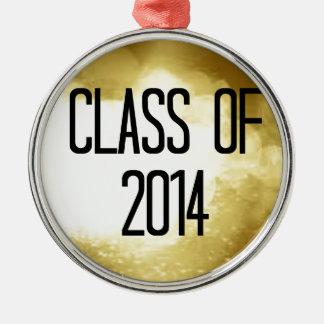clase del fondo 2014 del oro adorno navideño redondo de metal