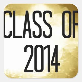 clase del fondo 2014 del oro pegatina cuadrada