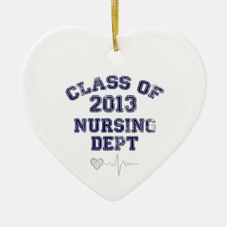 Clase del oficio de enfermera de 2013 adorno navideño de cerámica en forma de corazón